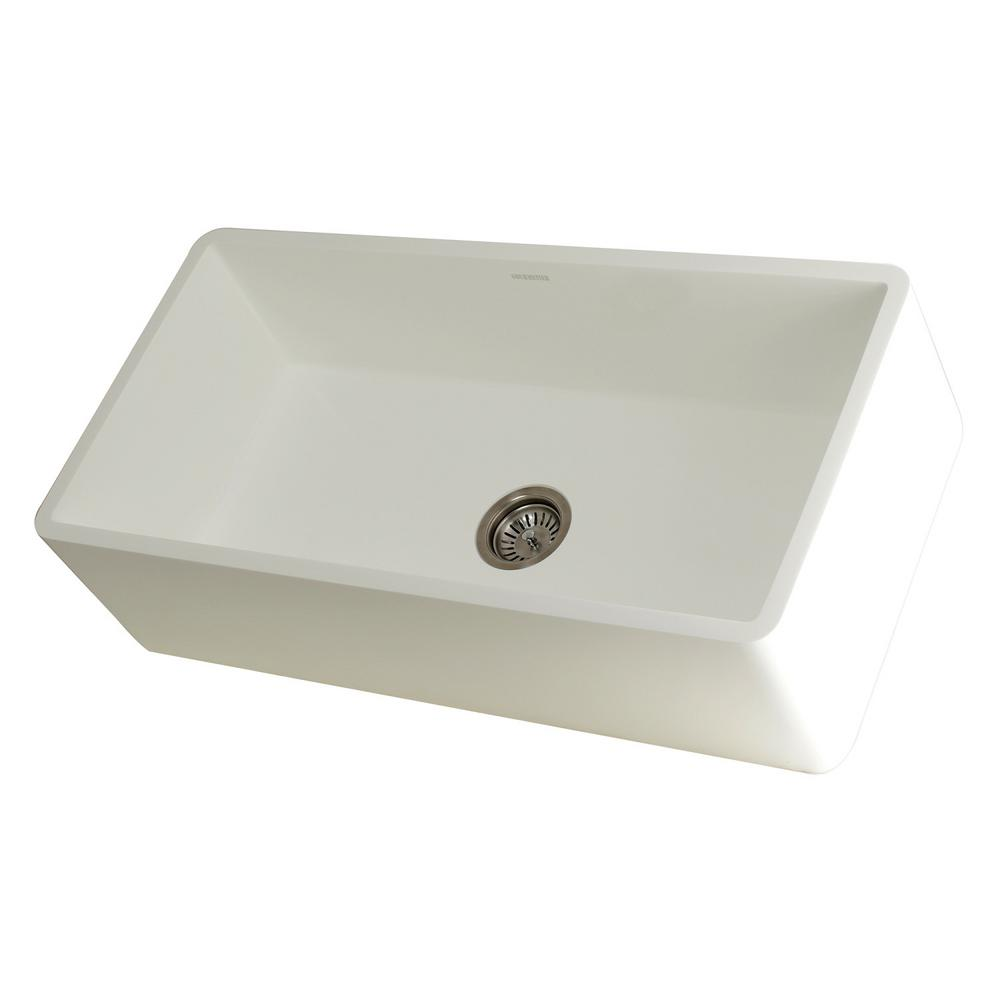 Kingston Brass Hannah Farmhouse Solid Surface White Stone 36 in. Single  Bowl Kitchen Sink