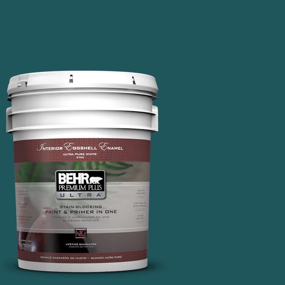 BEHR Premium Plus Ultra 5-gal. #PPF-56 Terrace Teal Eggshell Enamel Interior Paint