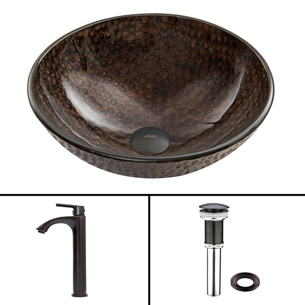 VIGO Glass Vessel Sink in Copper Shield and Linus Faucet Set in Antique Rubbed Bronze by VIGO