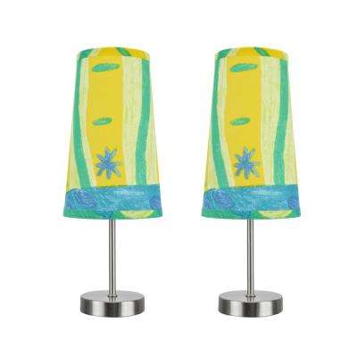 14-1/4 in. Satin Nickel Candlestick Table Lamp with Hardback Empire Lamp Shade in Blue/Yellow/Green Print (2-Pack)