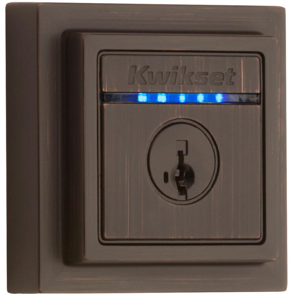 Kevo 2nd Gen Contemporary Square Venetian Bronze Single Cylinder Touch-to-Open Bluetooth Smart Lock Deadbolt