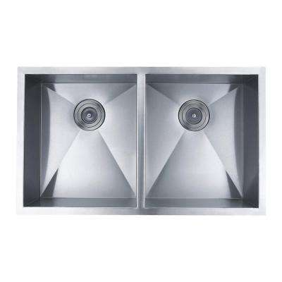 All-in-One Undermount Stainless Steel 32 in. 2-Hole Double Bowl Kitchen Sink