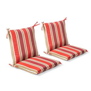 20 in. x 37 in. x 3 in. Chili Stripe Outdoor Mid-back Dining Chair Cushion (2 Pack)