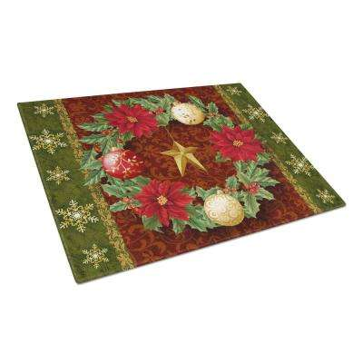 Holly Wreath with Christmas Ornaments Tempered Glass Large Cutting Board