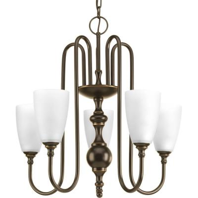 Revive Collection 5-Light Antique Bronze Chandelier with Etched Fluted Glass Shade