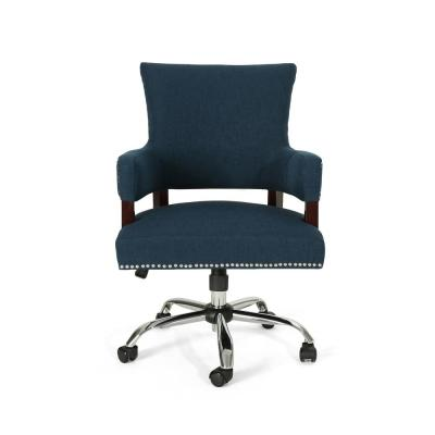 Bonaparte Traditional Studded Navy Blue Fabric Adjustable Home Office Chair with Wheels