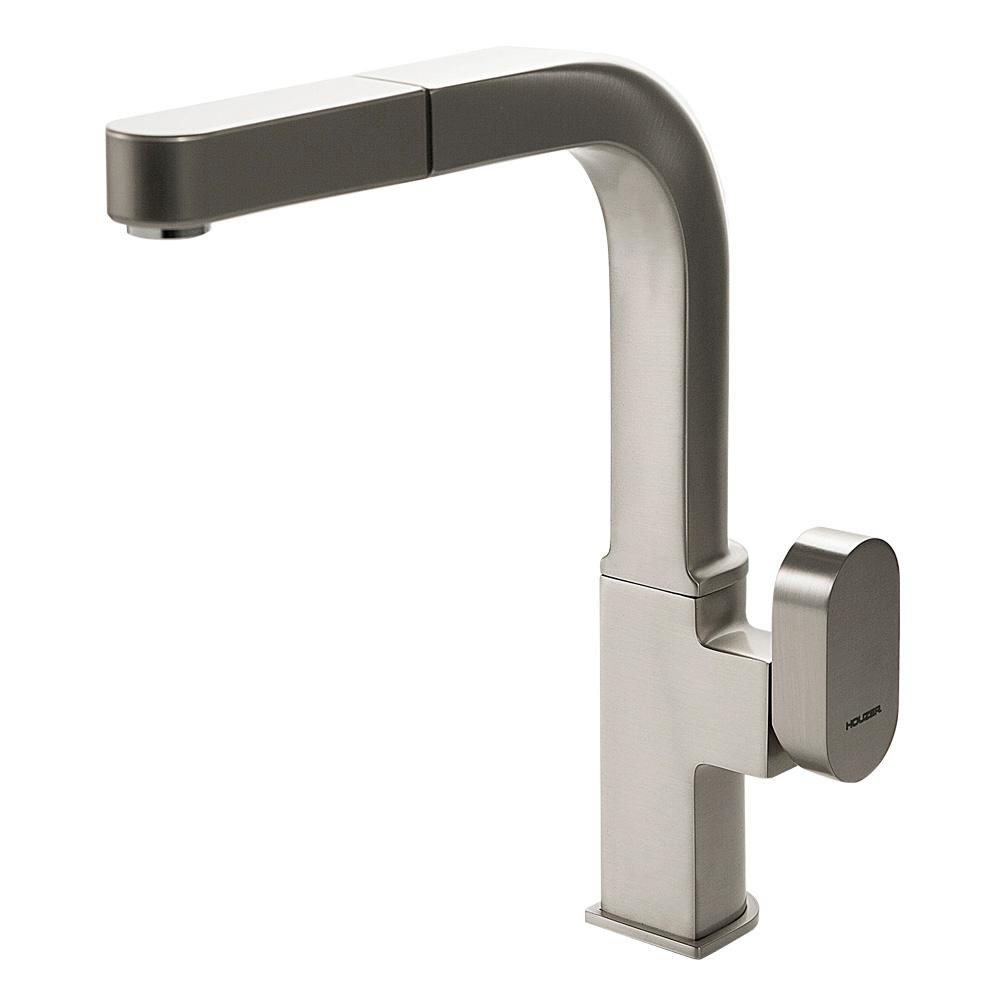 HOUZER Azura Single-Handle Pull Out Sprayer Kitchen Faucet with ...