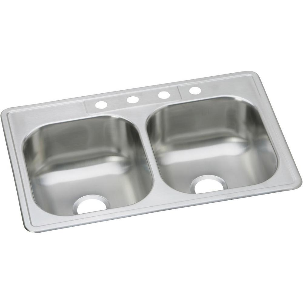 Dayton Drop-in Stainless Steel 33 in. 1-Hole Double Bowl Kitchen Sink