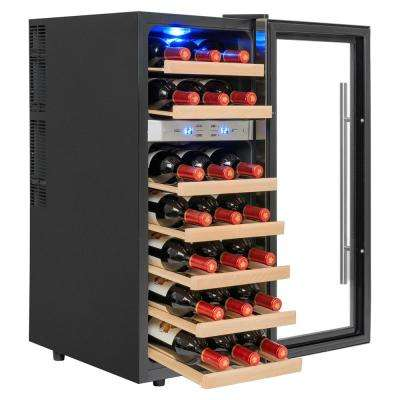 21-Bottle Thermoelectric Dual Zone Wine Cooler in Black with Wooden Shelves