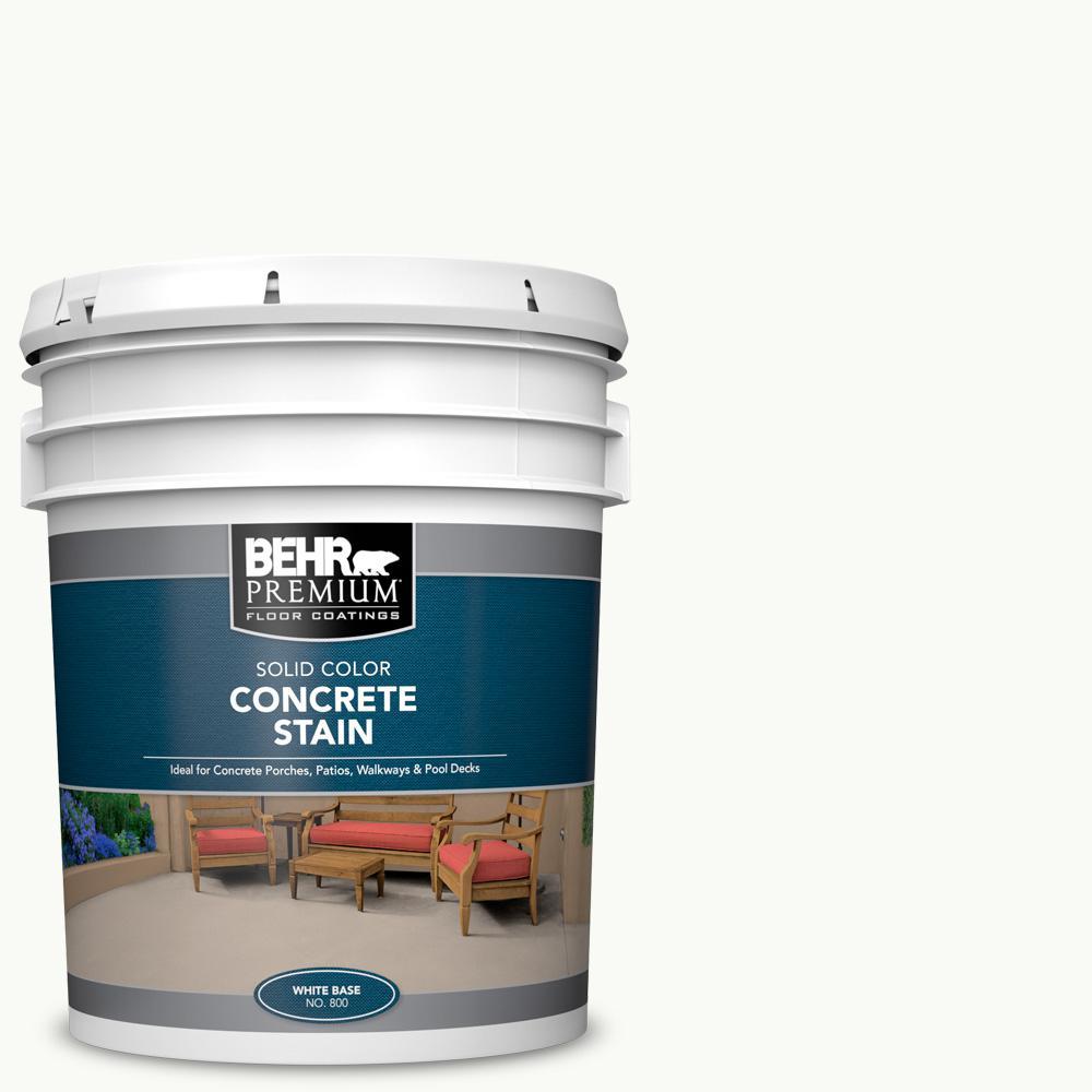 BEHR PREMIUM 5 gal. White Solid Color Flat Interior/Exterior Concrete Stain