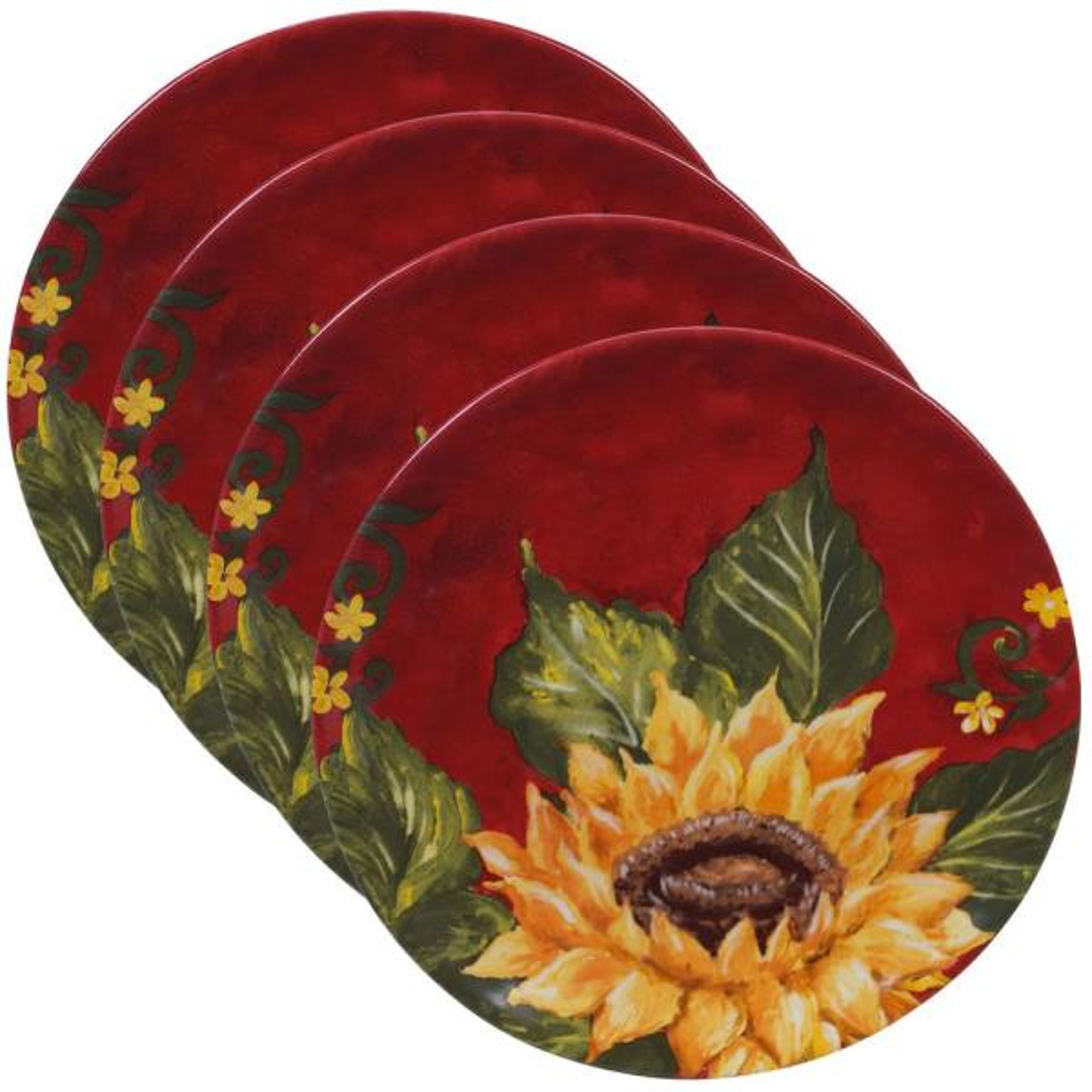 Sunset Sunflower Multi-color Salad Plate (Set of 4)