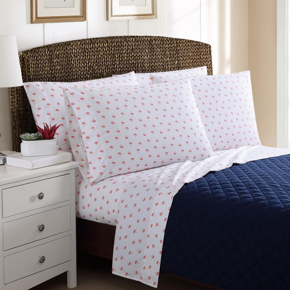 Awesome 4 Piece Printed Palm Trees Twin Sheet Sets