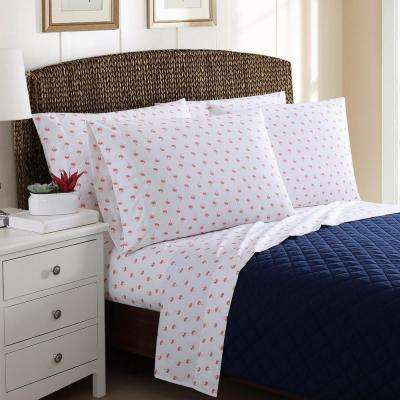 4 Piece Printed Palm Trees Twin Sheet Sets