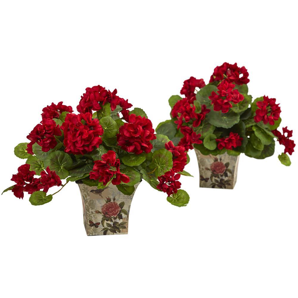 Geranium Flowering Silk Plant with Floral Planter (Set of 2)