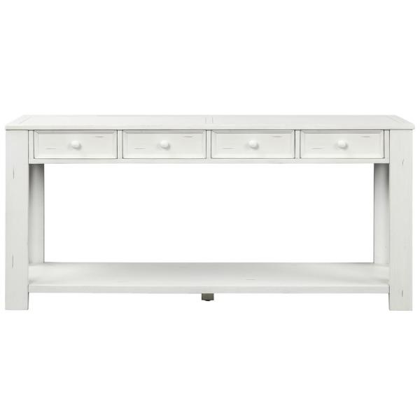 30 in. White Wood Top Grange Regency Console Table with 4-Drawer