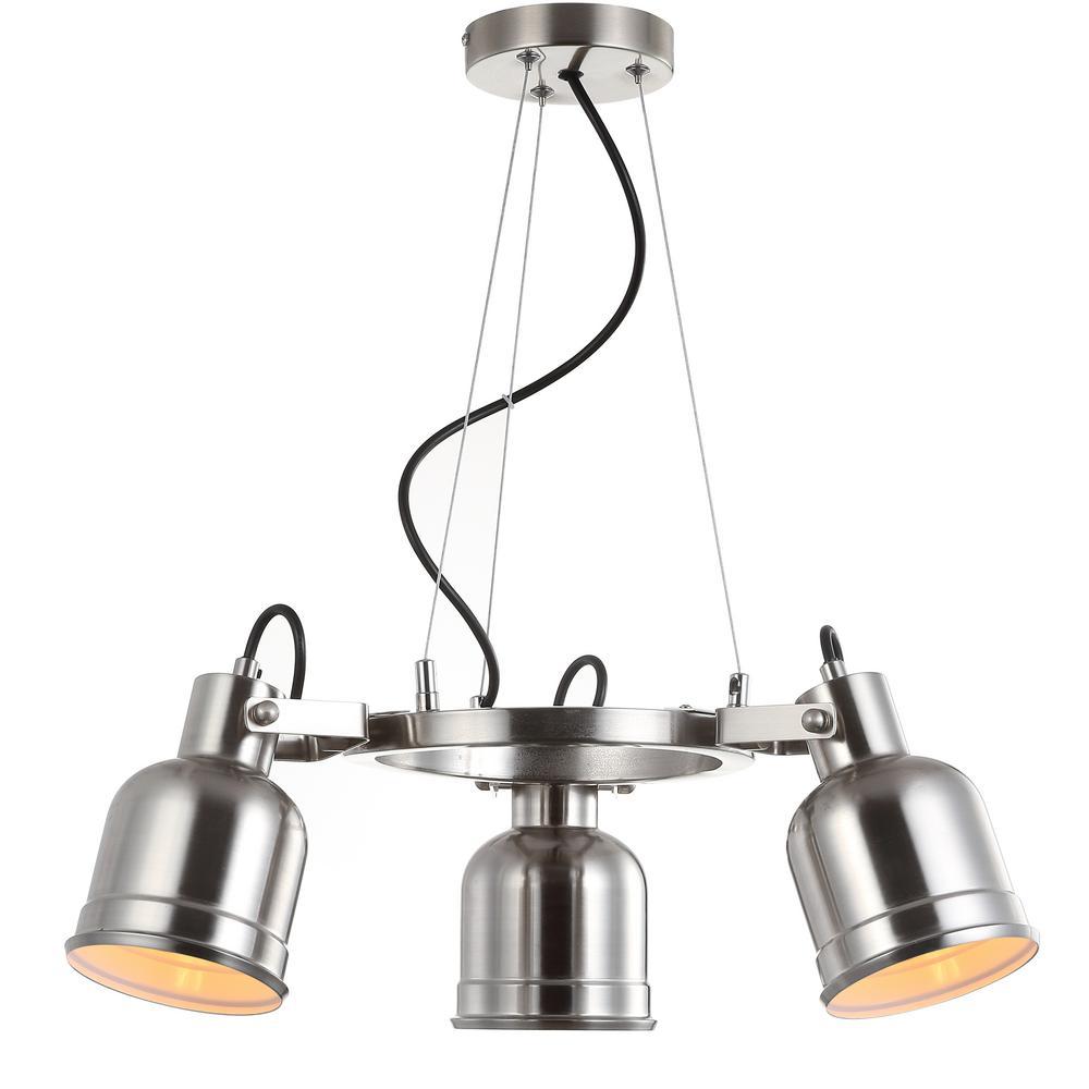 Liam 20 in. 3-Light Nickel Metal LED Pendant