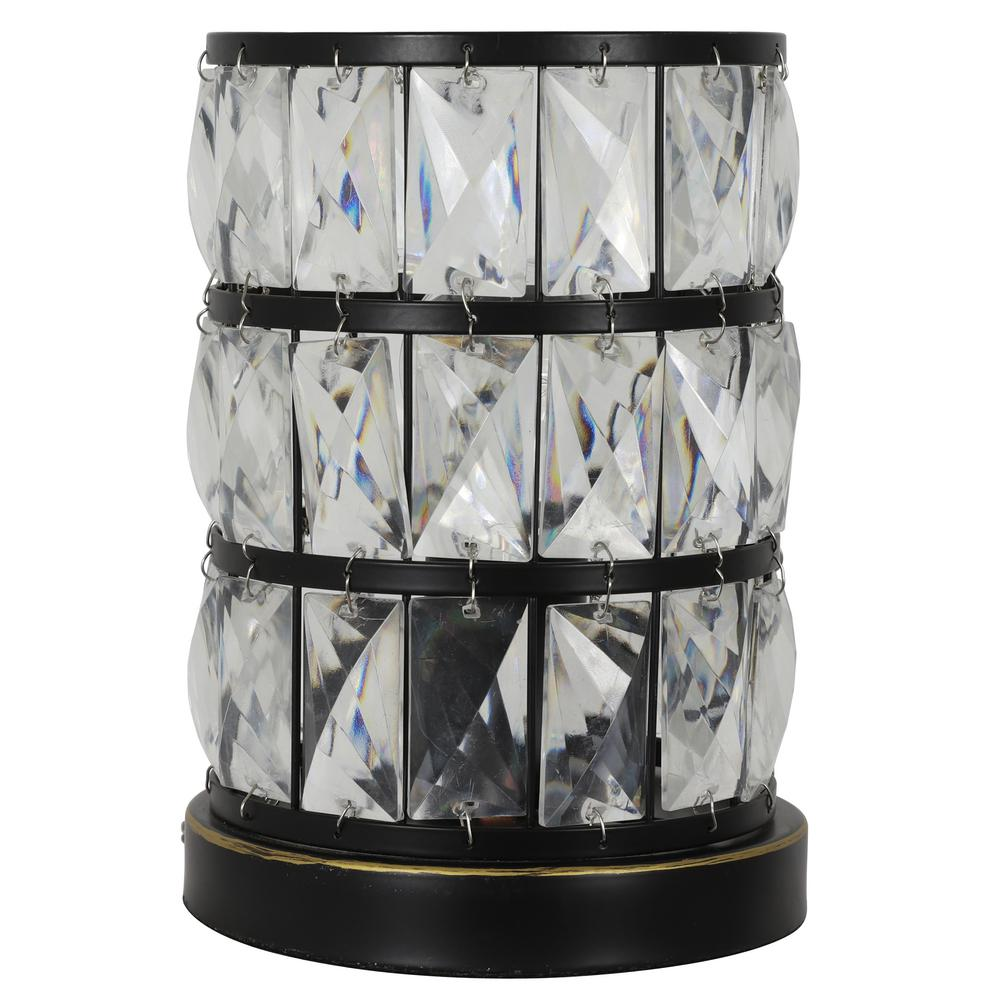 Decor Therapy Hayes 9 in. Bronze Faceted Touch Control Uplight