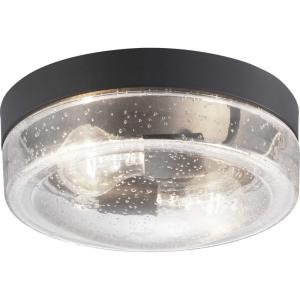 Weldon Collection 2-Light Black Outdoor Flush Mount