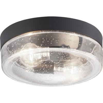 Lakelynn 2-Light Textured Black Outdoor Flush Mount with Clear Seeded Glass