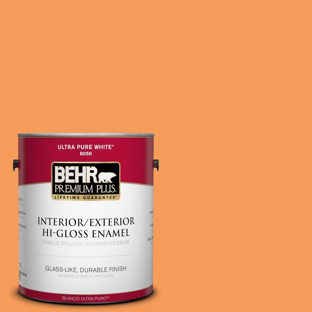 BEHR Premium Plus 1-gal. #P220-6 Bergamot Orange Hi-Gloss Enamel Interior/Exterior Paint