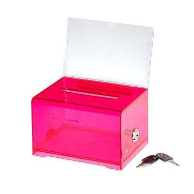 Acrylic Clear Locking Suggestion Box, Red