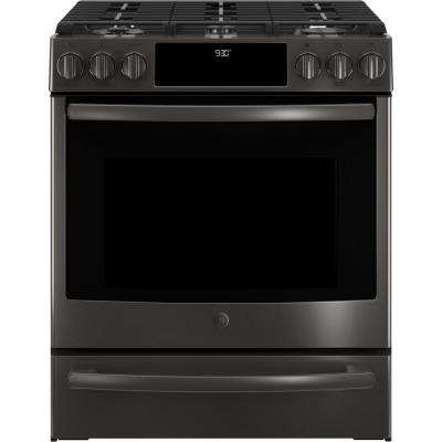 5.6 cu. ft. Slide-In Smart Gas Range with Self-Cleaning True Convection Oven and WiFi in Black Stainless Steel