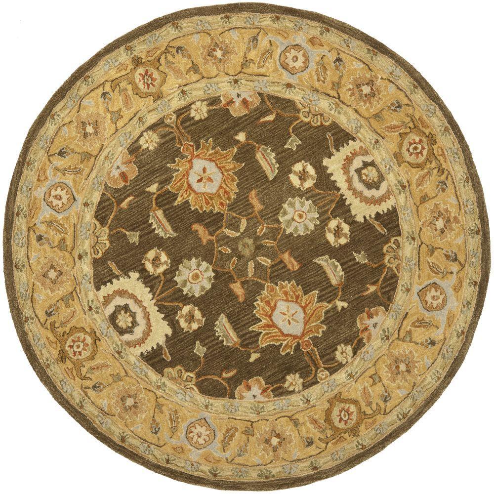 Safavieh Anatolia Brown/Taupe 4 ft. x 4 ft. Round Area Rug