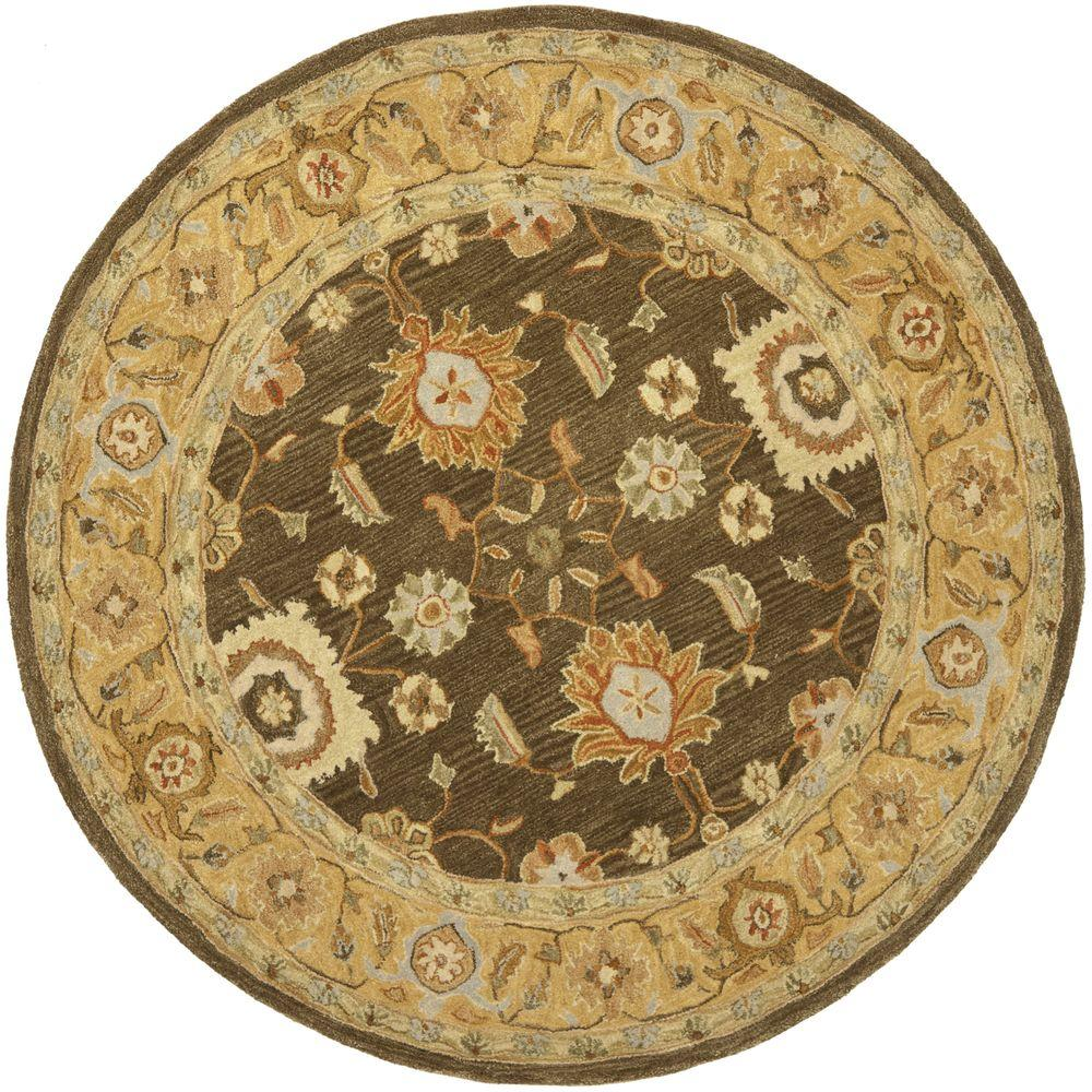 Safavieh Anatolia Brown Taupe 6 Ft X 6 Ft Round Area Rug