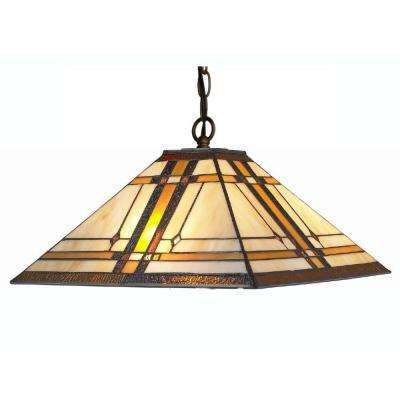Tiffany Style 2-Light Pendant Mission Hanging Lamp 14 in. Wide