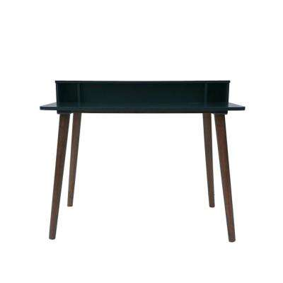 Elodie Mid-Century Modern Charcoal Gray Rubberwood Writing Desk