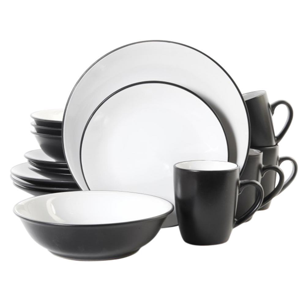 Vivendi 16-Piece Dinnerware Black andWhite Two Tone Dinnerware Set