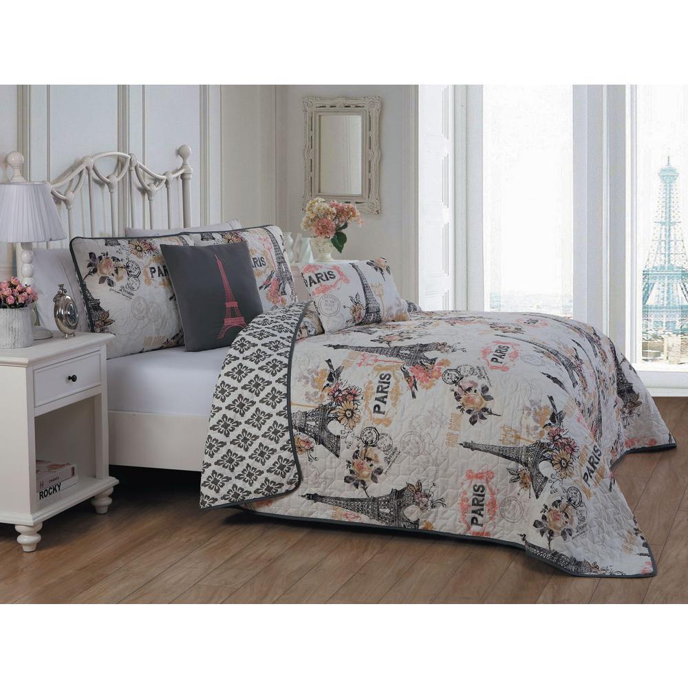 Cherie Coral King Quilt Set