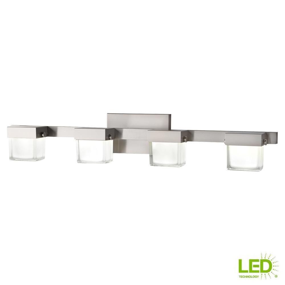 Vanity Light 4 Light Integrated Led White Glass 40watt Equivalent Brushed Nickel 718212228142 Ebay