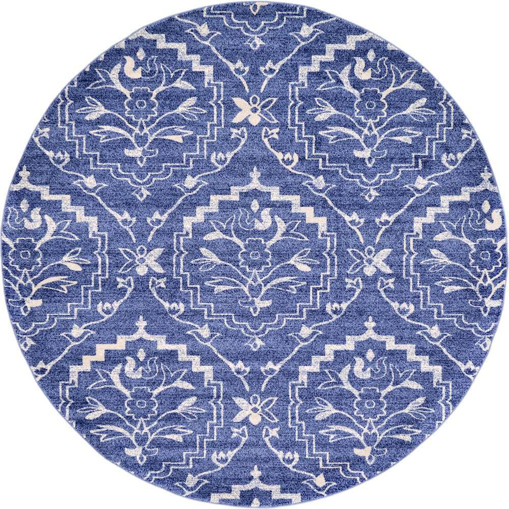 Unique loom damask blue 8 ft x 8 ft round area rug for Blue and white area rugs