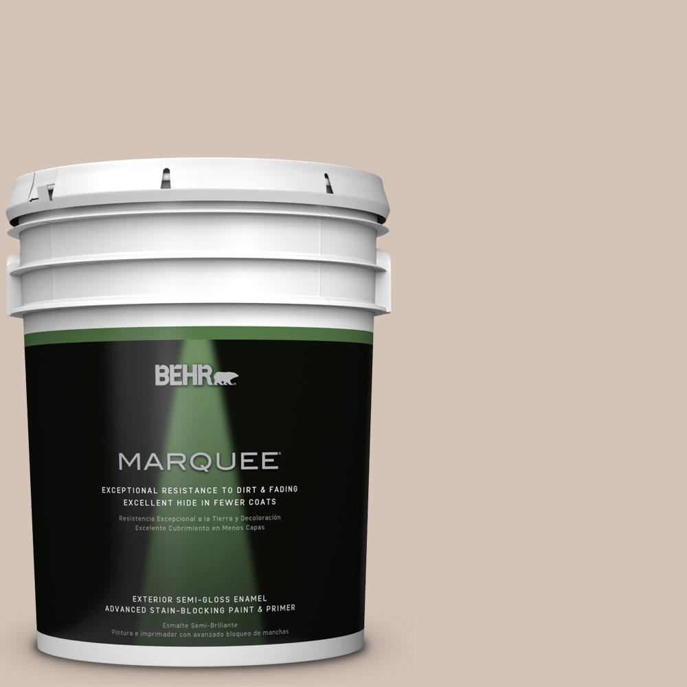 BEHR MARQUEE 5-gal. #BIC-02 Hazy Taupe Semi-Gloss Enamel Exterior Paint