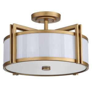 Orb 3-Light Antique Gold Semi-Flush Mount Light