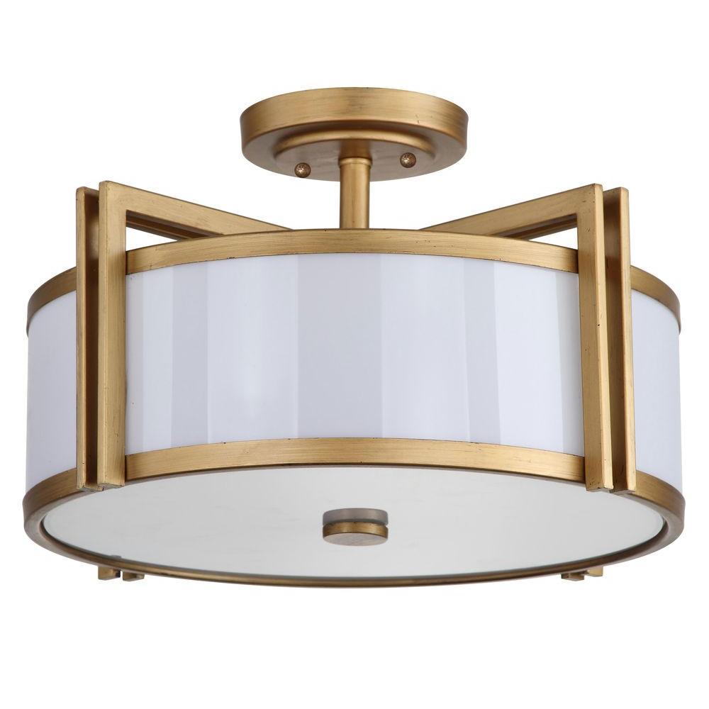 Orb 3-Light Antique Gold Semi-Flush Mount Light