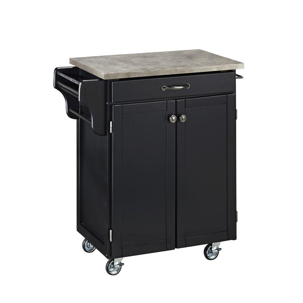 Cuisine Cart Black Kitchen Cart With Concrete Top