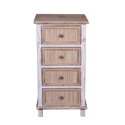 Natural and White-Washed Specialty Wood Accent End Table