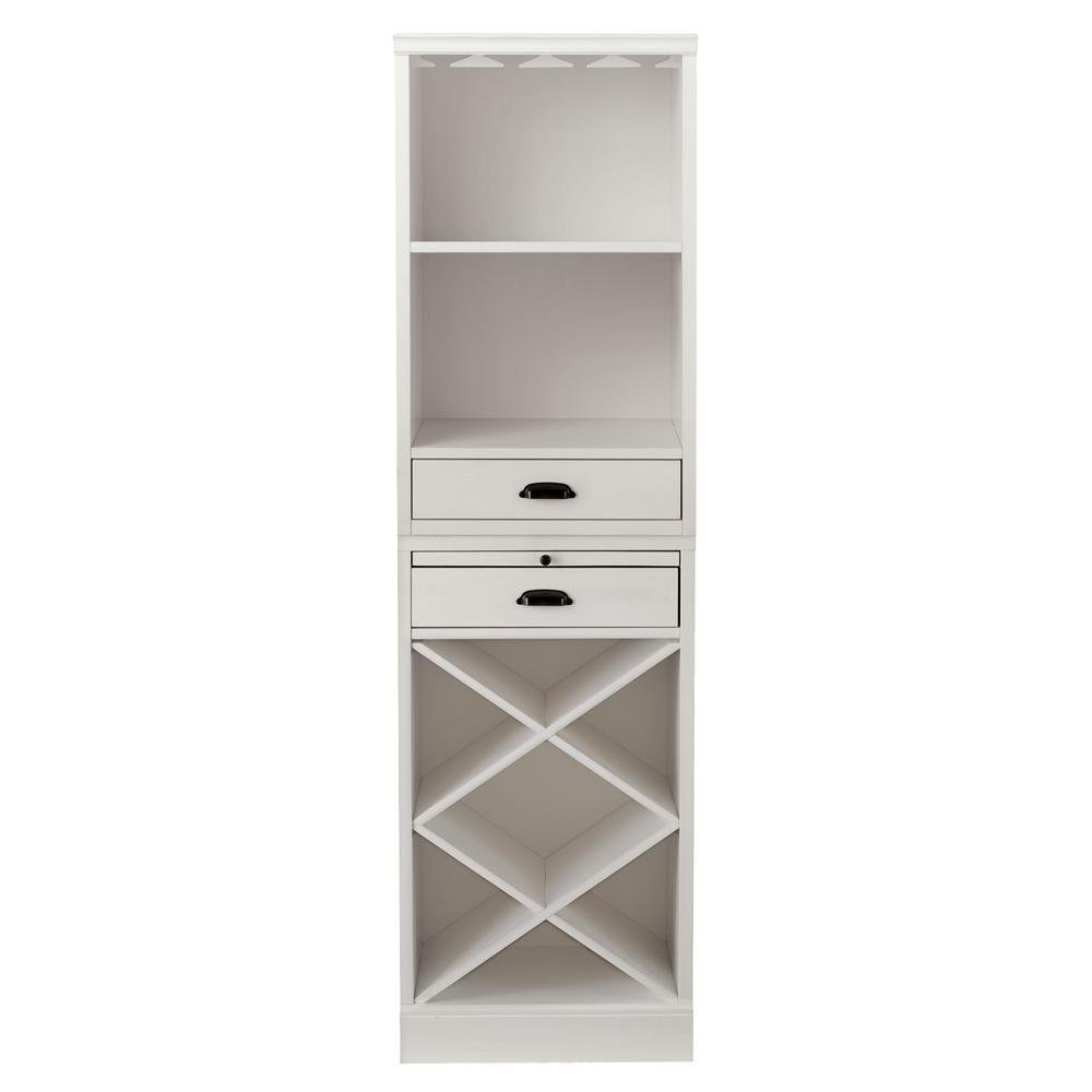 Quentin White Bar Cabinet With Two Shelves And Wine Rack For 40 Bottles 20 In W X 72 In H Sk18733 The Home Depot