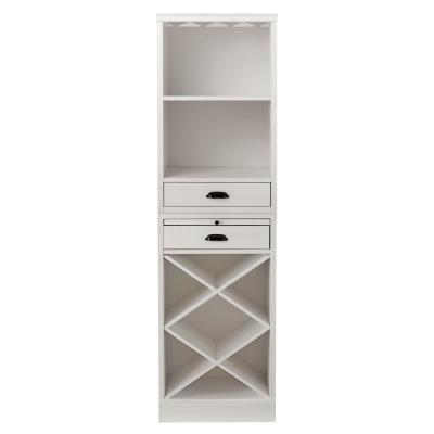 Quentin White Bar Cabinet with Two Shelves and Wine Rack for 40 Bottles (20 in W. x 72 in H.)