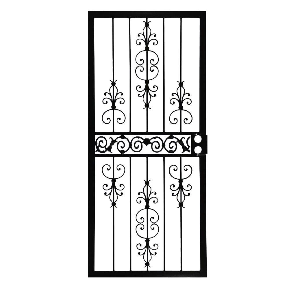 409 Series Spanish Lace Steel Black Prehung Security