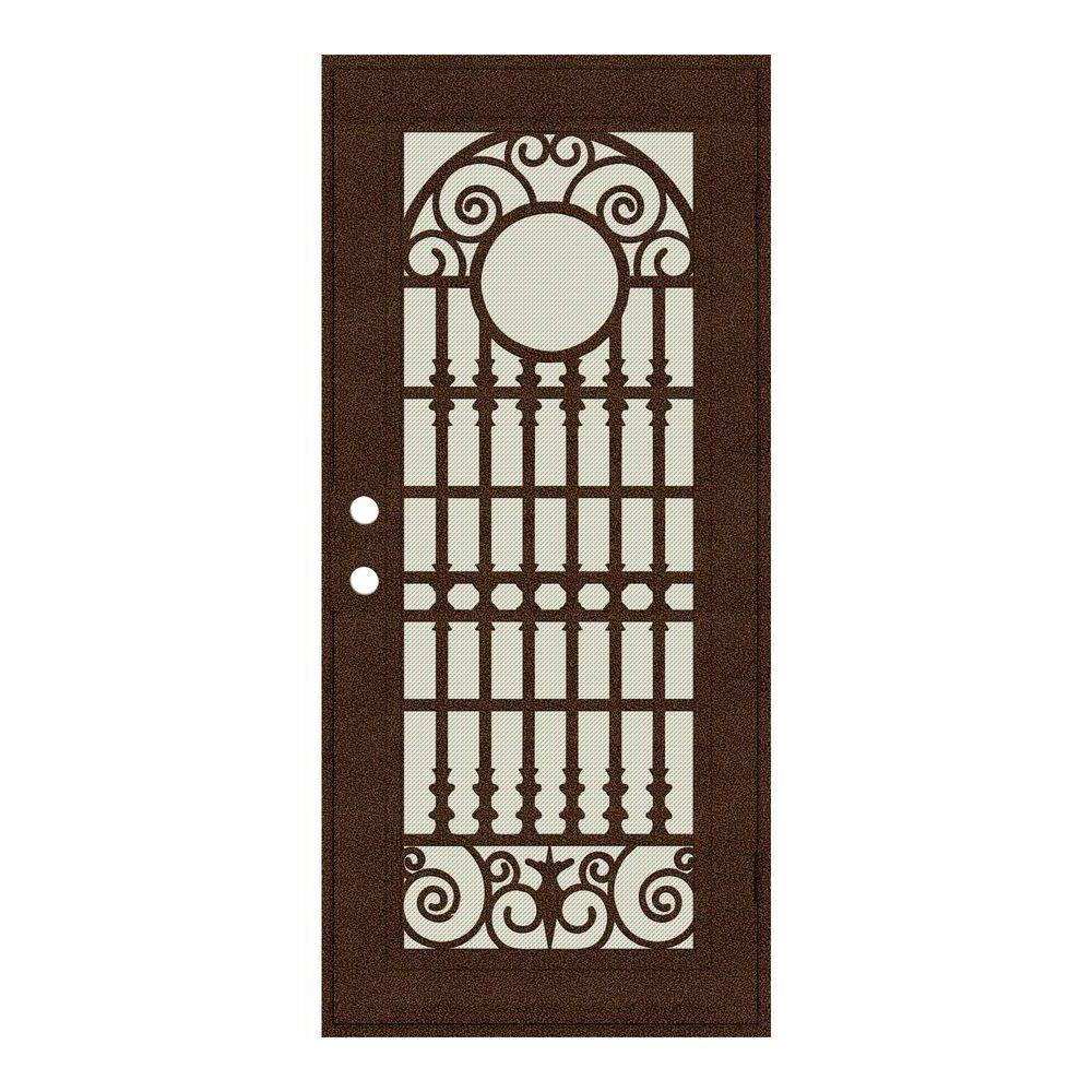 Attractive Unique Home Designs 36 In. X 80 In. Spaniard Copperclad Right Hand Surface  Mount Aluminum Security Door With Beige Perforated Screen 1S2029EL1CCP2A    The ...