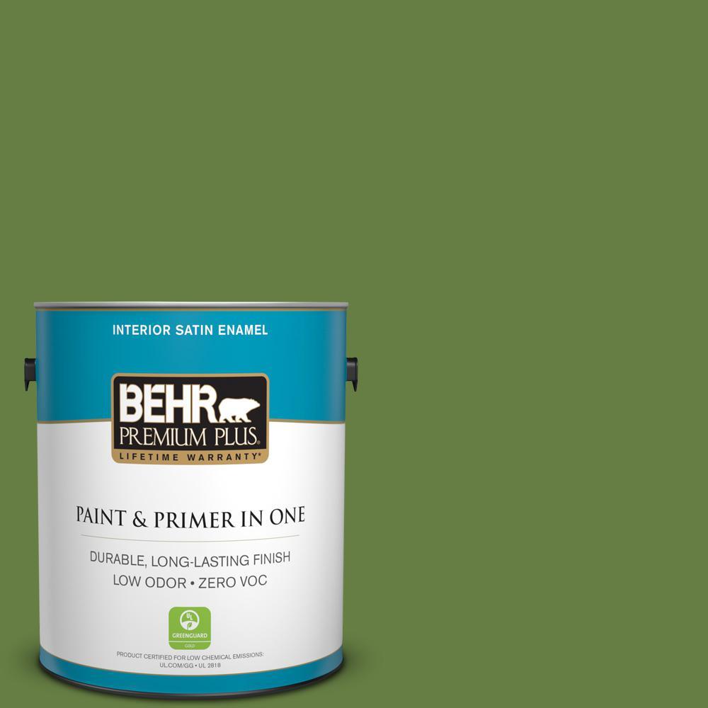 1-gal. #M350-7 Healing Plant Satin Enamel Interior Paint