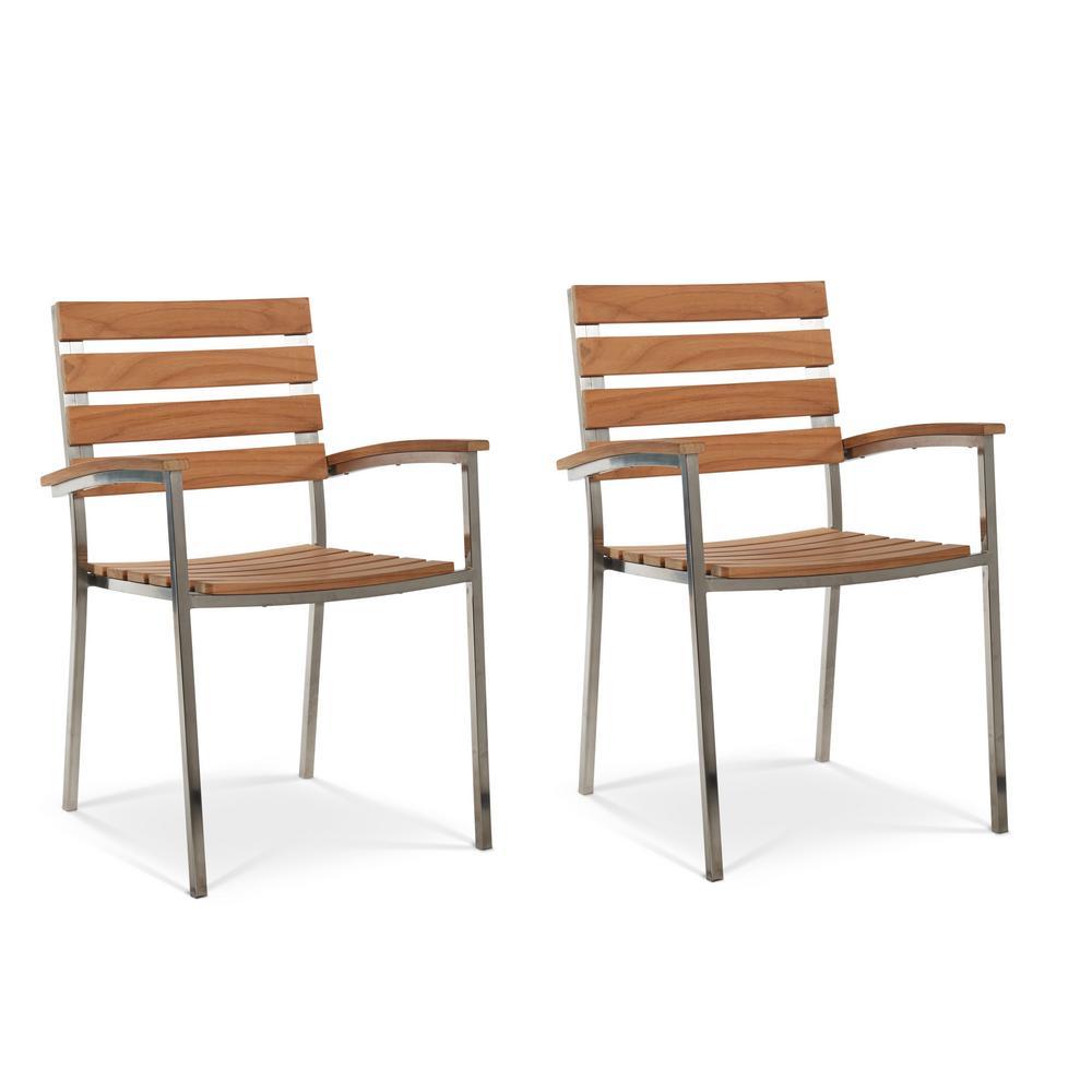 Al Fresco Metal and Teak Outdoor Dining Armchair (Set of 2)