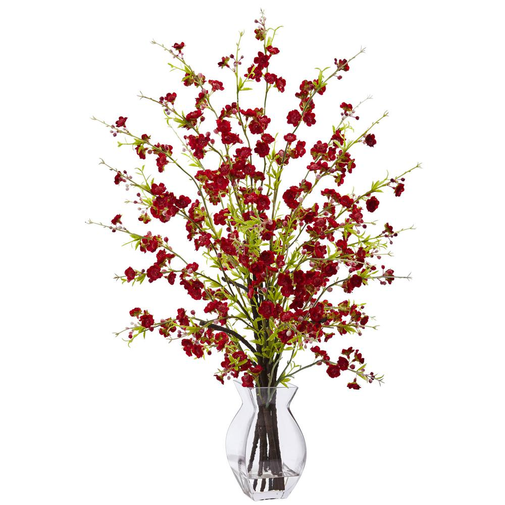 Nearly Natural 26 In Cherry Blossom In Glass Vase In Red 1459 Rd