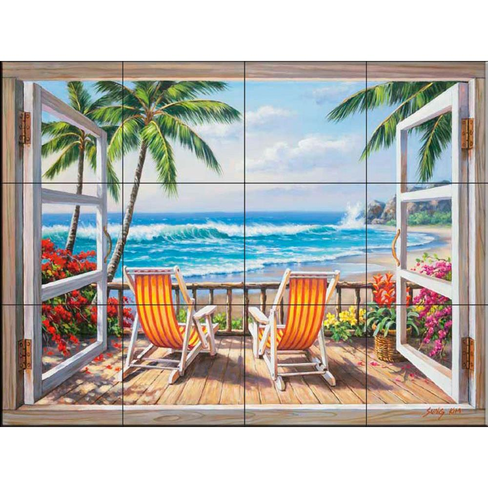 The tile mural store tropical terrace 24 in x 18 in for Ceramic mural tiles