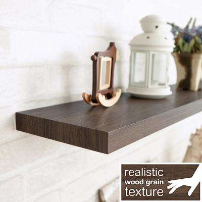 Antigua 24 in. W x 8 in. D zBoard Paperboard Textured Grain Wall Shelf Decorative Floating Shelf in Dark Teak