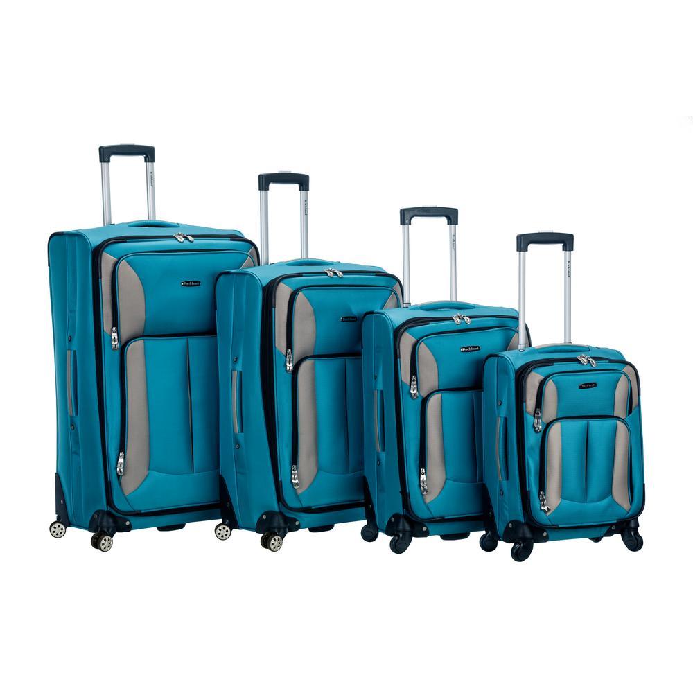 Rockland 4-Piece Impact Spinner Softside Luggage Set, Turquoise