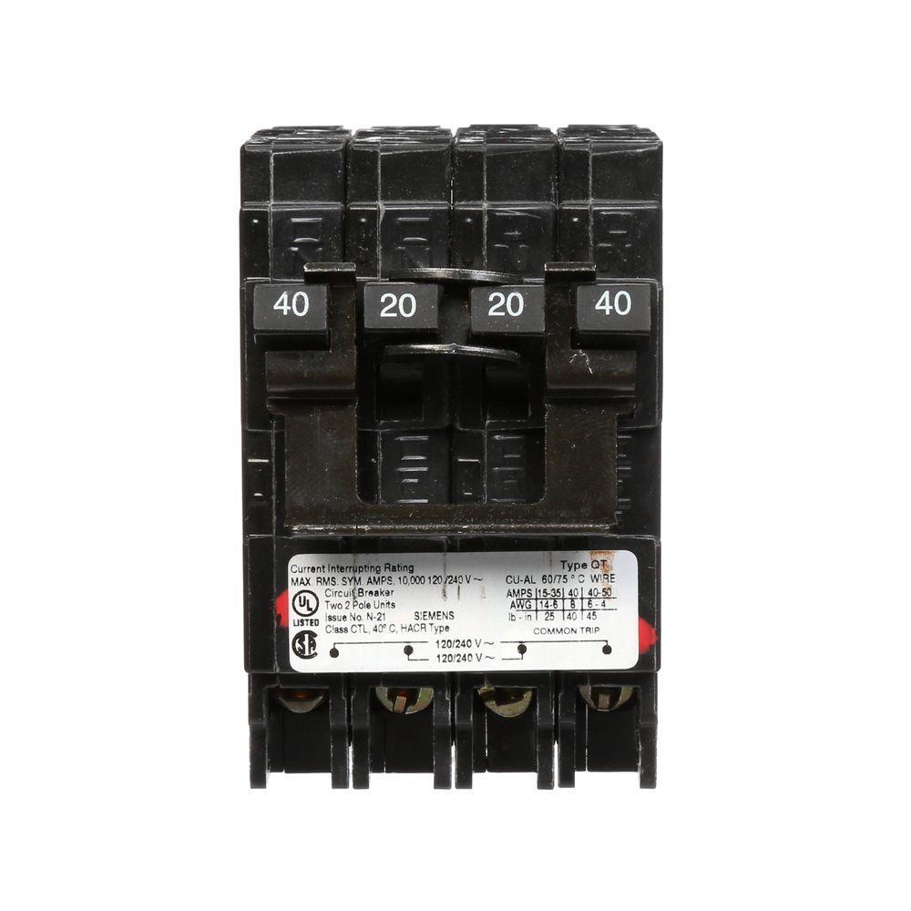 Siemens 20 Amp Double-Pole and 40 Amp Double-Pole Type QT Quad ...
